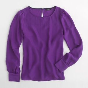 J. Crew purple long sleeve boat neck blouse